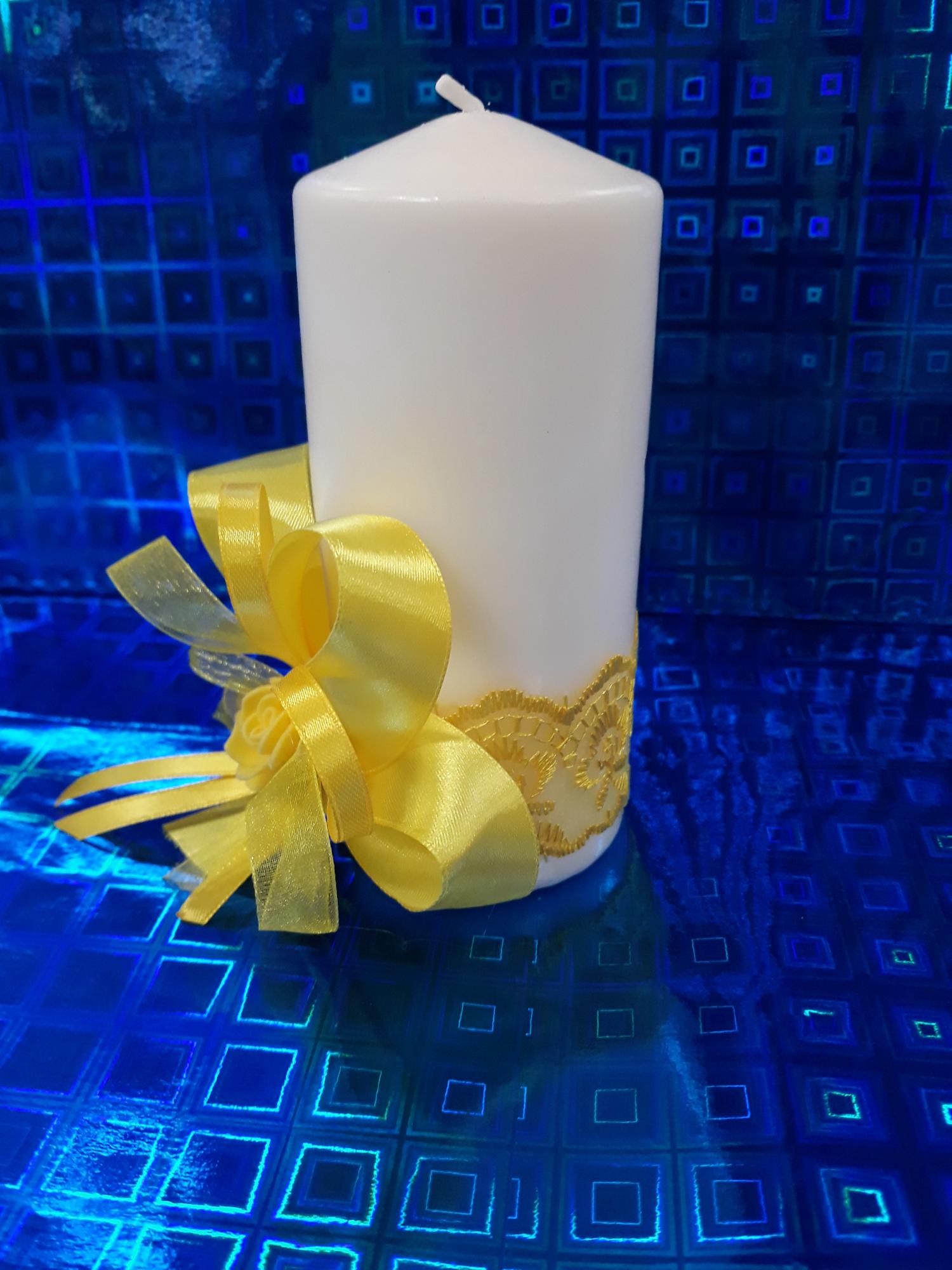 Свадебная свеча №3 с декором (1шт) (желтый)