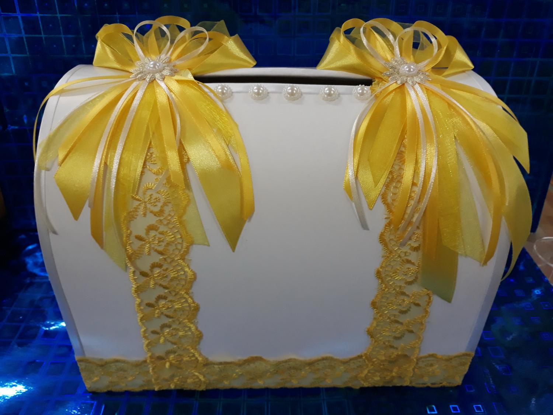 Копилка свадебная с декором (желтый)