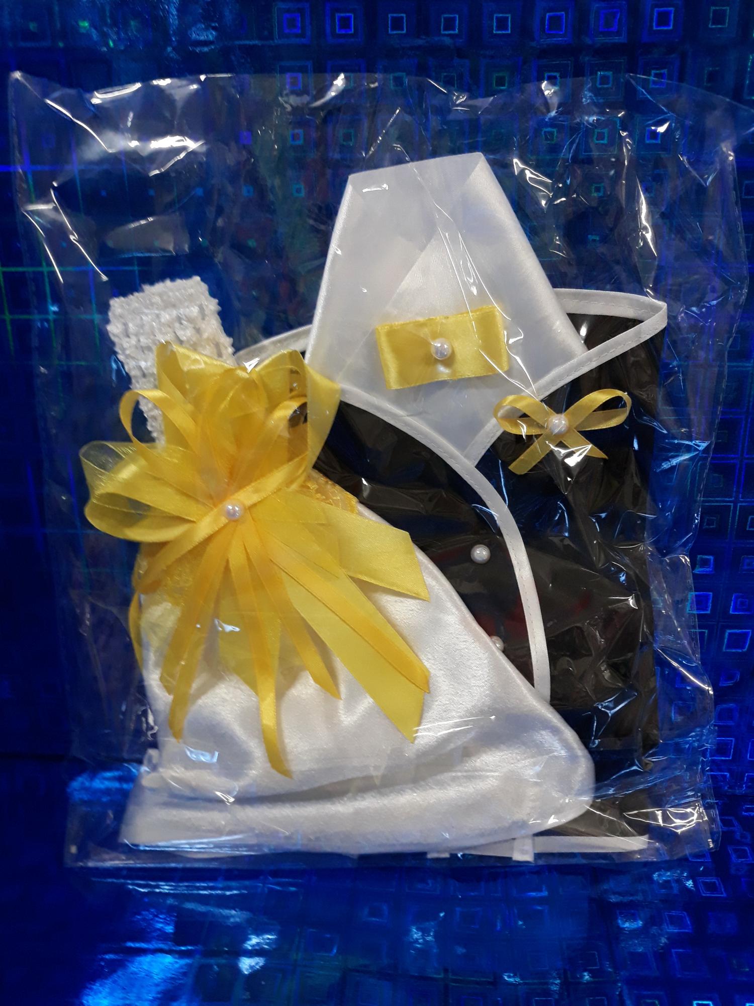 Свадебная одежда на шампанское с декором (желтый)