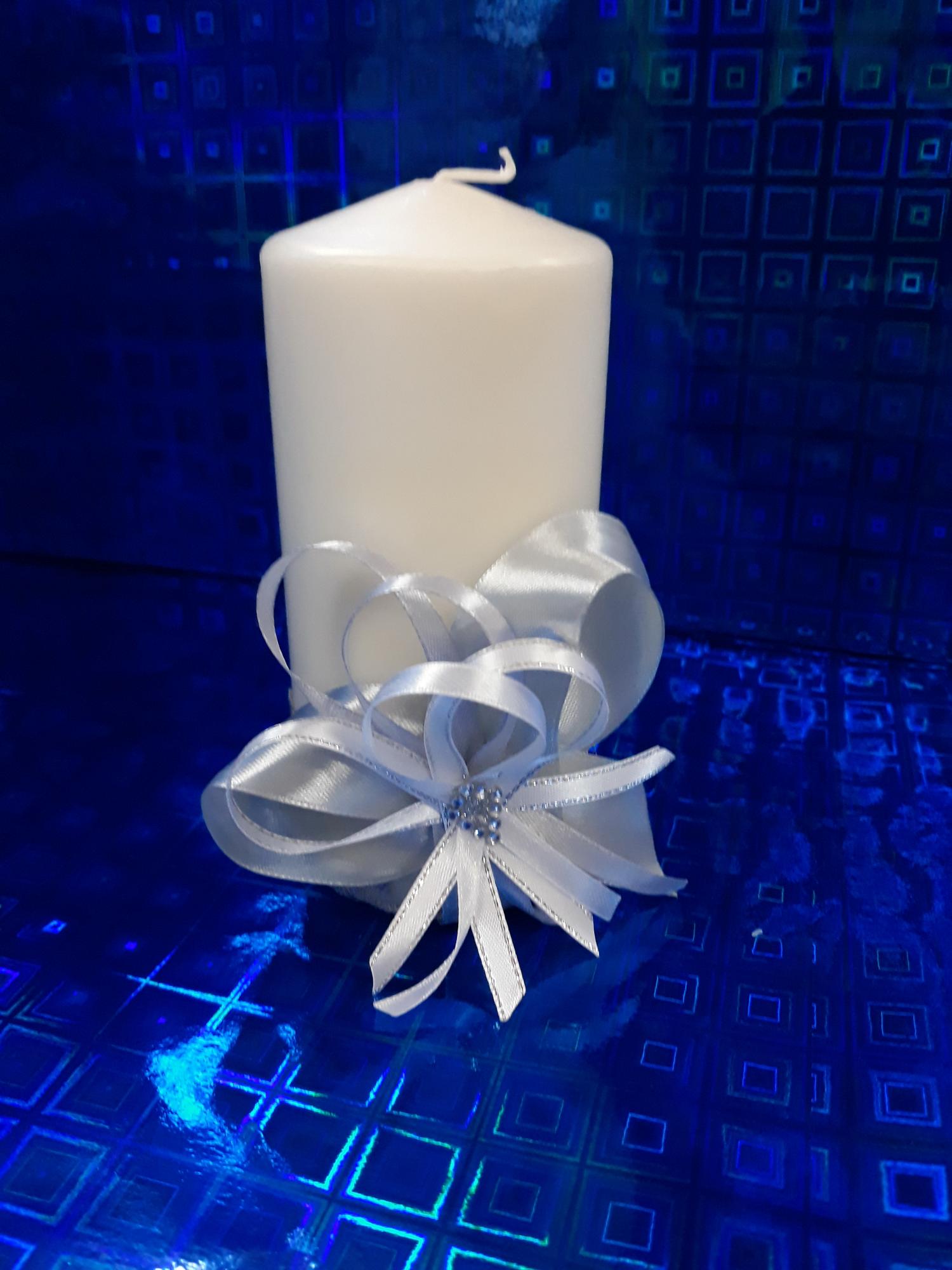 Свадебная свеча №3 с декором (1шт) (серебро)