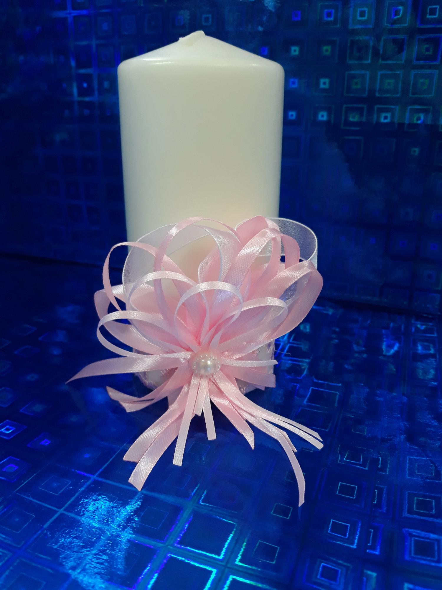 Свадебная свеча №3 с декором (1шт) (розовый)