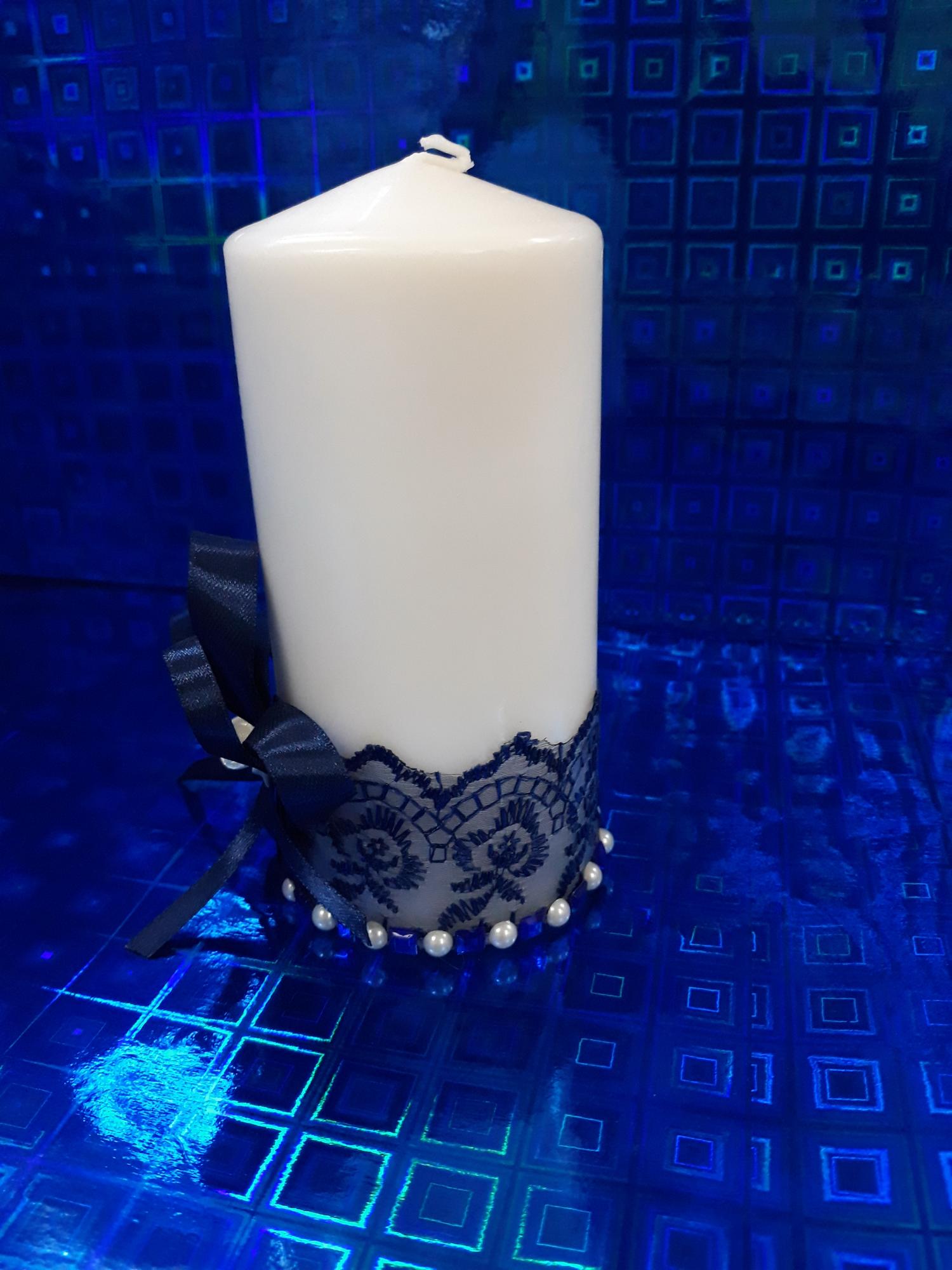 Свадебная свеча №3 с декором (1шт) (темно-синий)