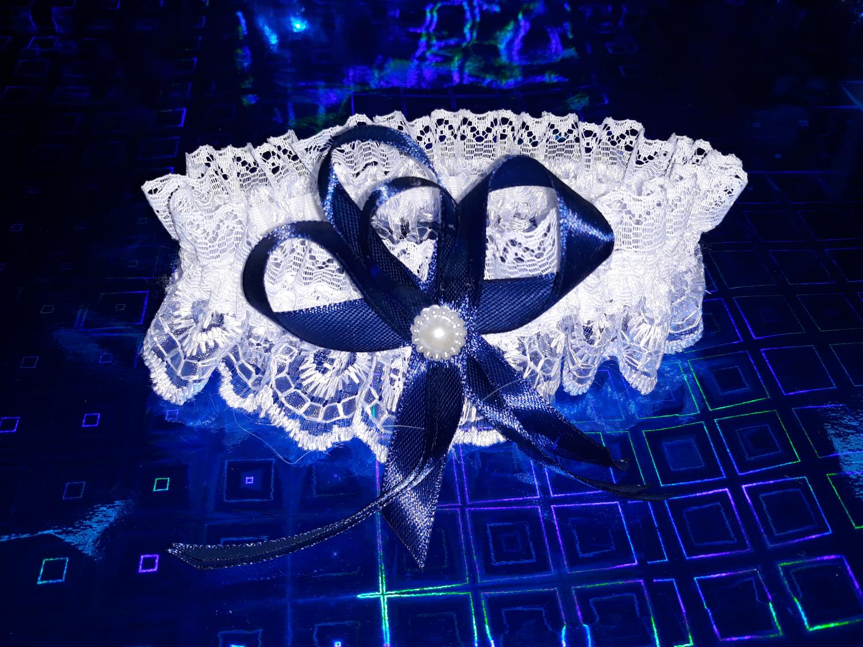 Свадебная подвязка №1 (темно-синий)