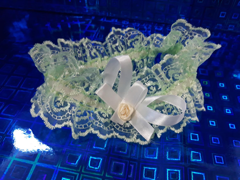 Свадебная подвязка №1 (бело-розовый)