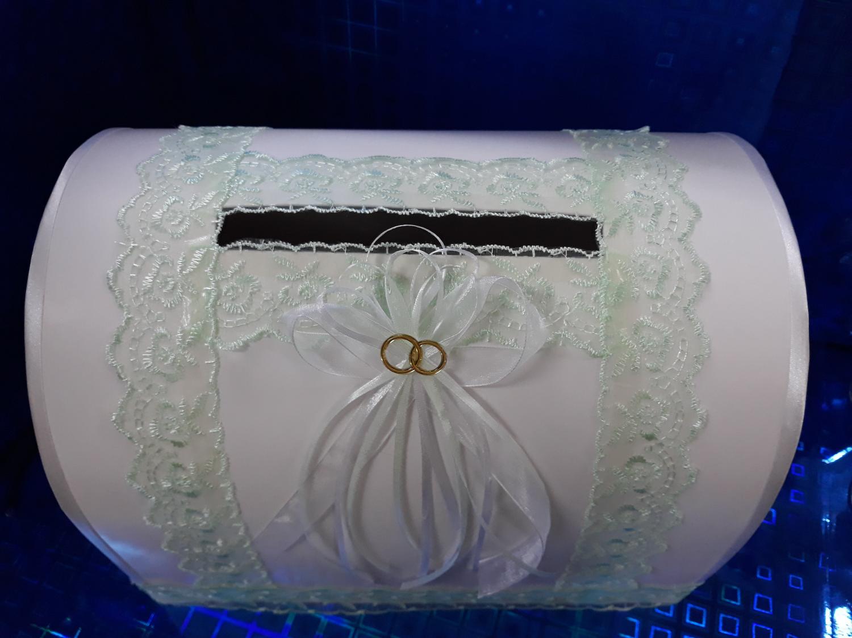 Копилка свадебная с декором (бело-зеленый)
