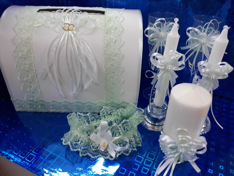 Свадебная свеча №3 с декором (1шт) (бело-зеленый)