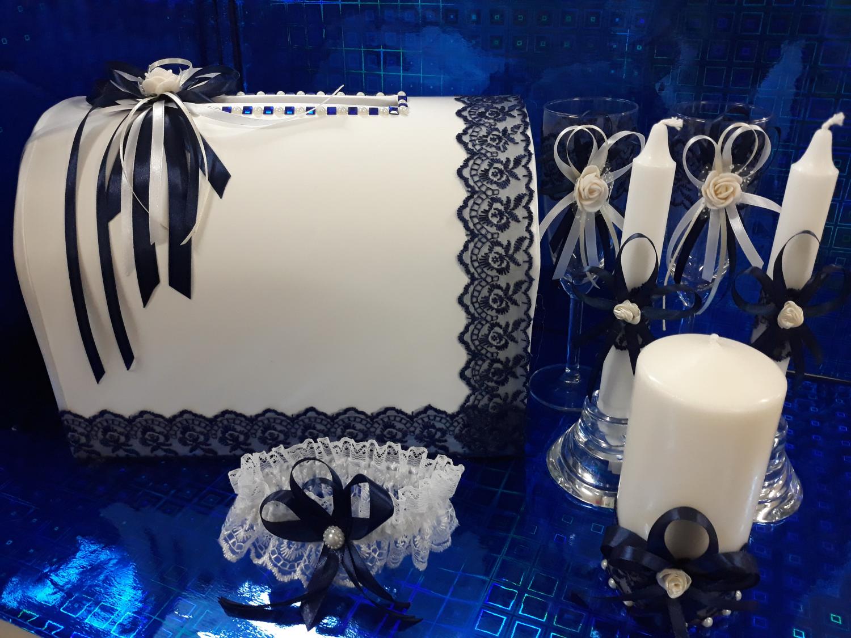 Копилка свадебная с декором (темно-синий)