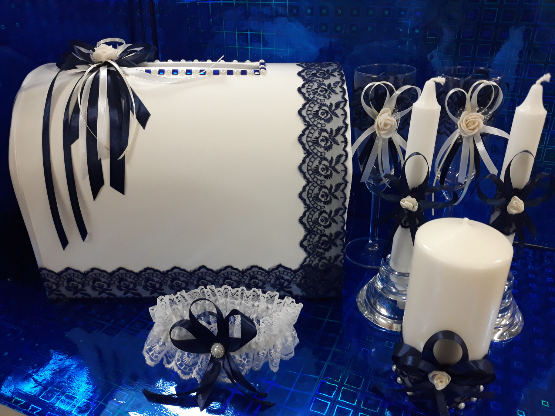 Свадебная одежда на шампанское с декором (темно-синий)
