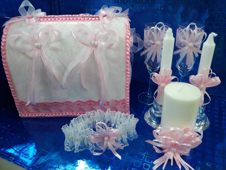 Свадебная одежда на шампанское с декором (розовый)