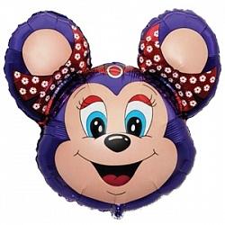 Фольгированный шар (30''/76 см) Фигура, Бабси-Маус, Фиолетовый, 1 шт.