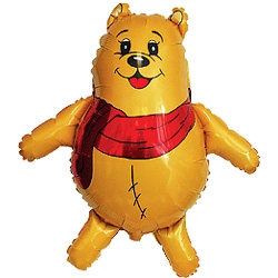 Медвежонок с красным шарфом, Желтый, 1 шт.
