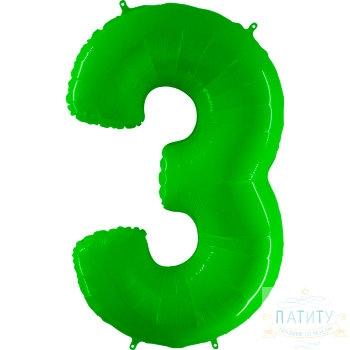 Фигура Цифра 3 зеленая 40
