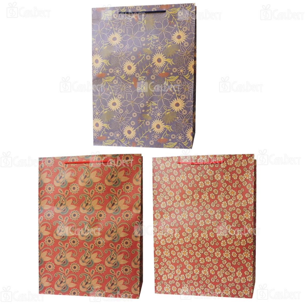 Подарочный крафт пакет, 31*41*10 см, ассорти