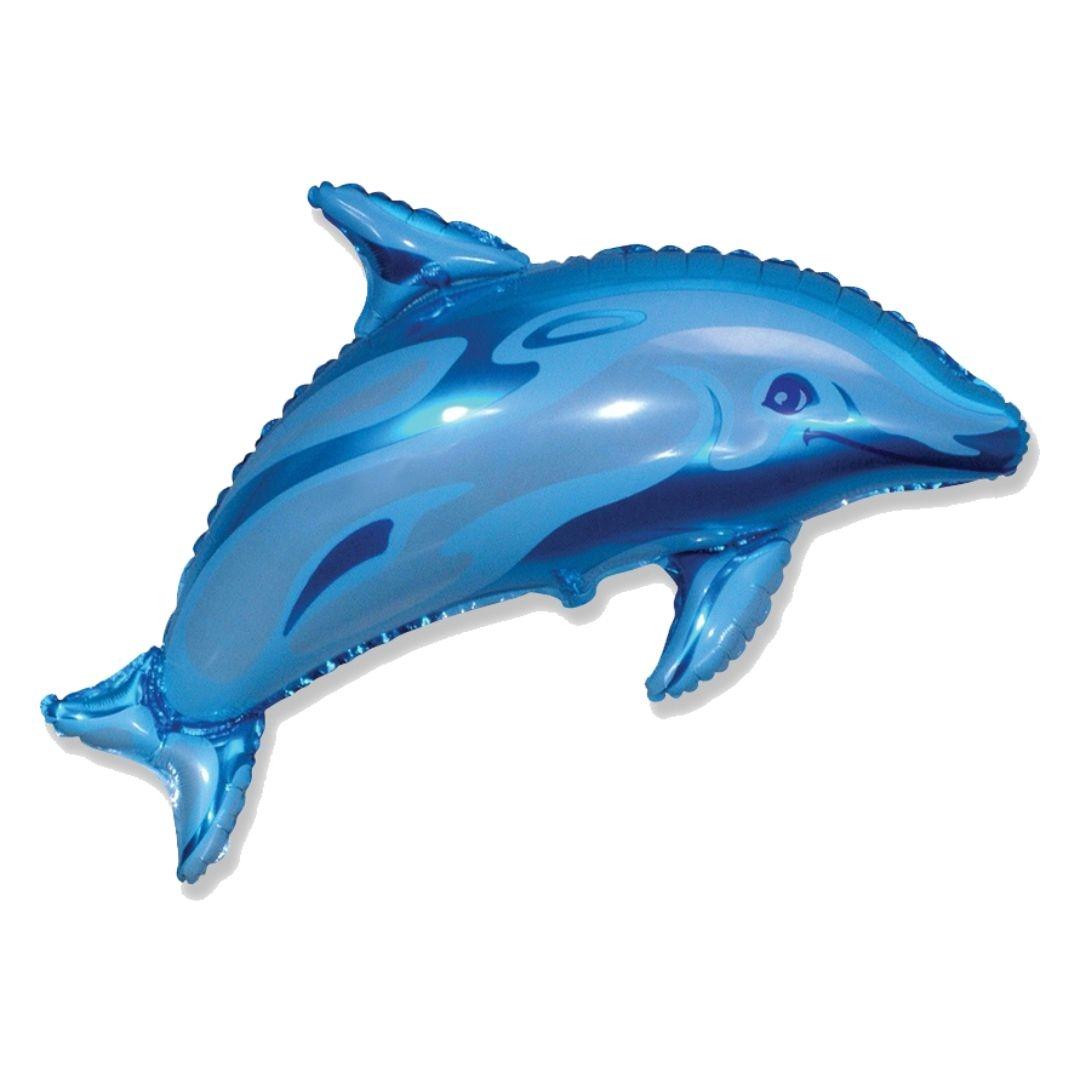Фольгированный шар (37''/94 см) Фигура, Дельфин фигурный, Синий, 1 шт.