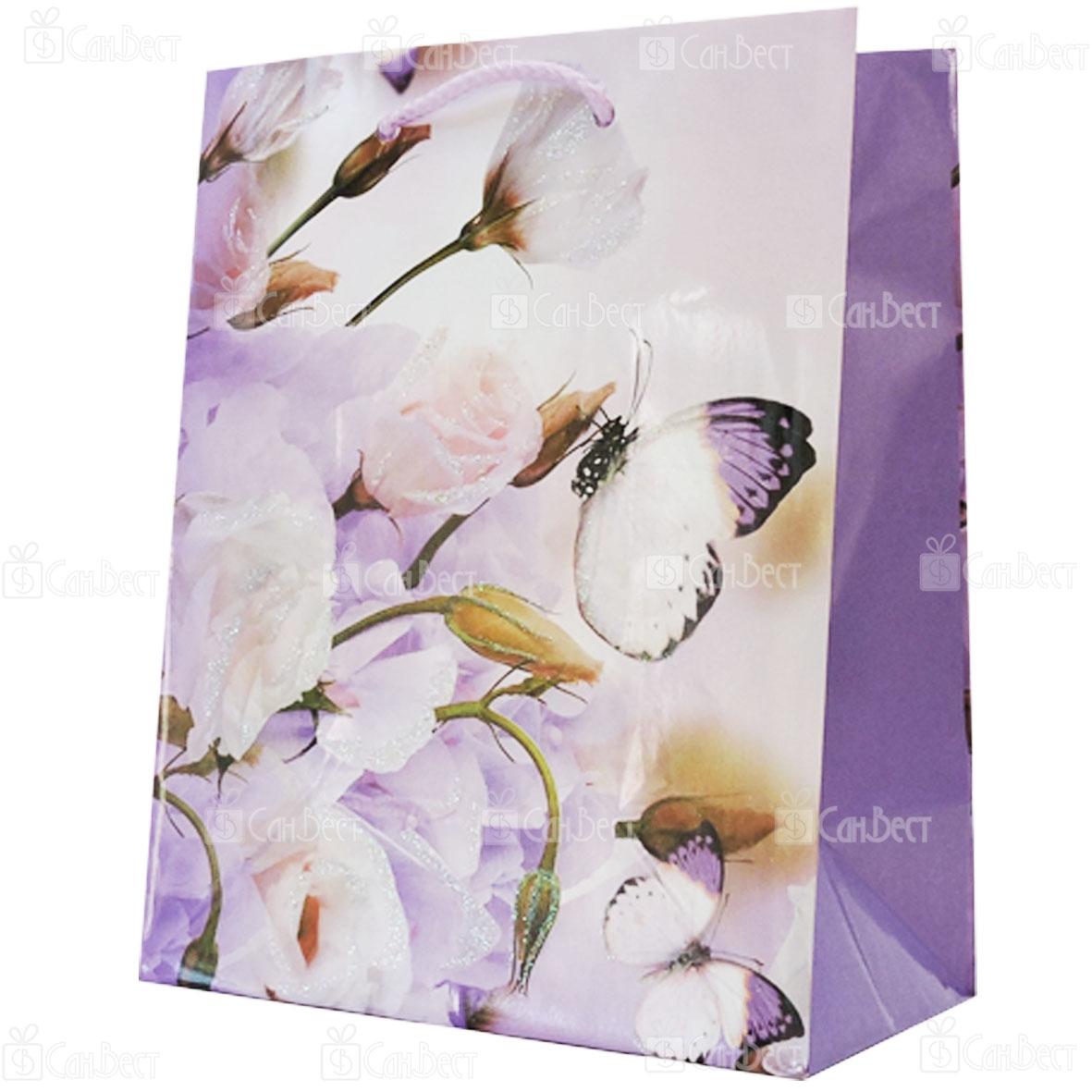 Подарочный пакет с глиттером, 18*24*10 см